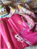 Pink cotton dress material with golden booties and patola printed light brown dupatta