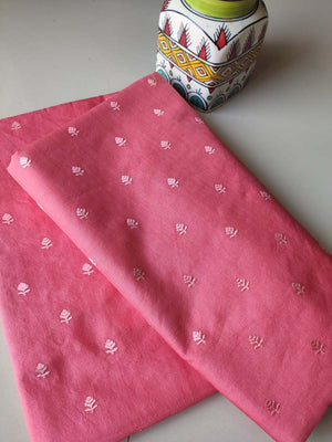 Pinkish peach chanderi dress material with embroiderery booties and zari woven dupatta