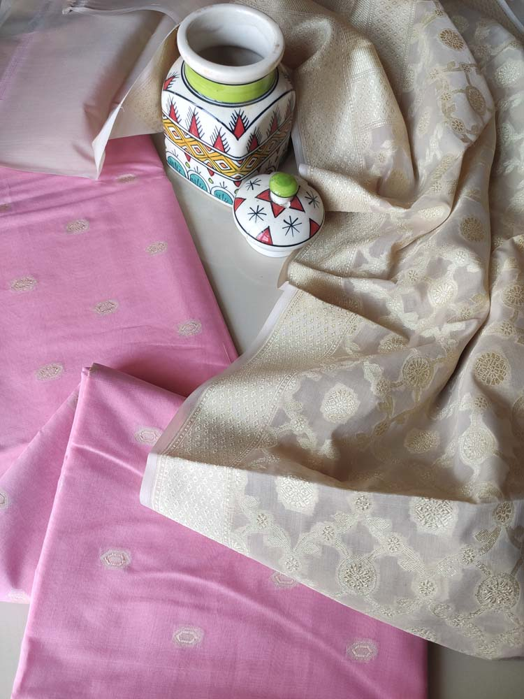 Pink chanderi dress material with woven booties and beige zari woven jaal on dupatta