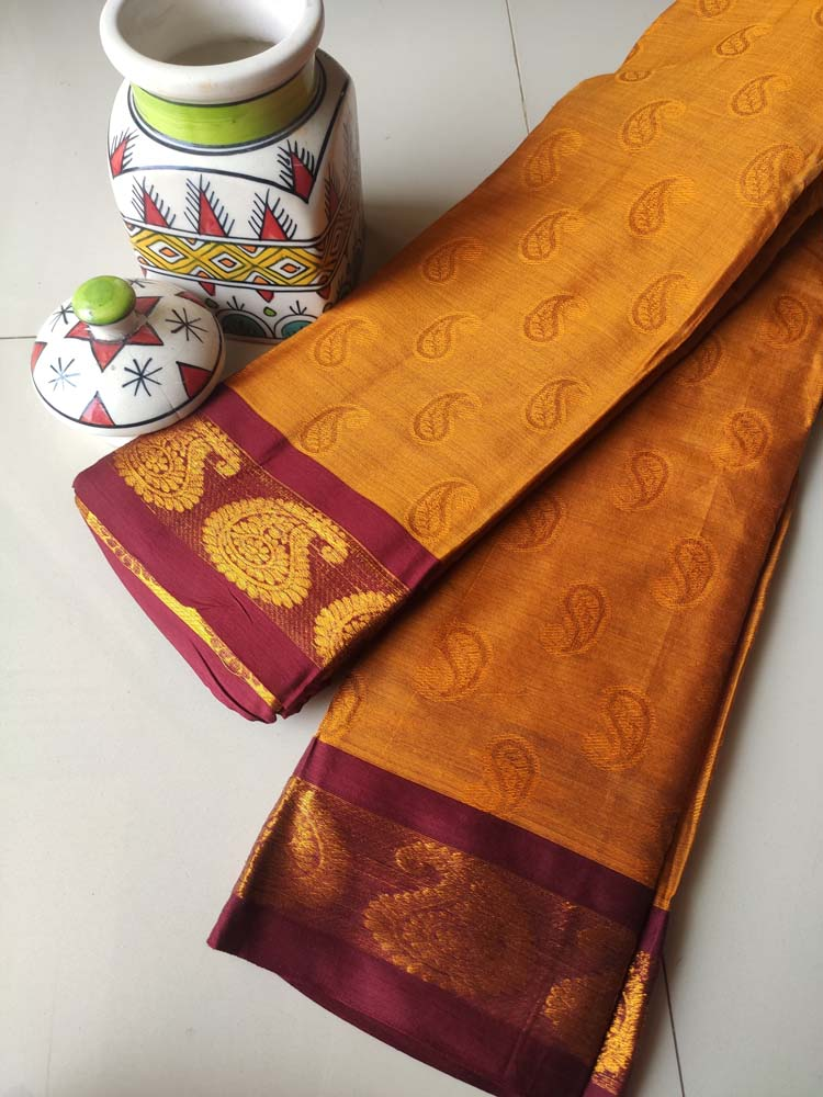 Mustard jacquard narayanpet south cotton silk saree with zari paisley border