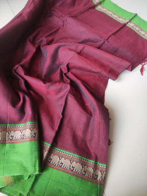 Wine red narayanpet south cotton saree with resham elephant border