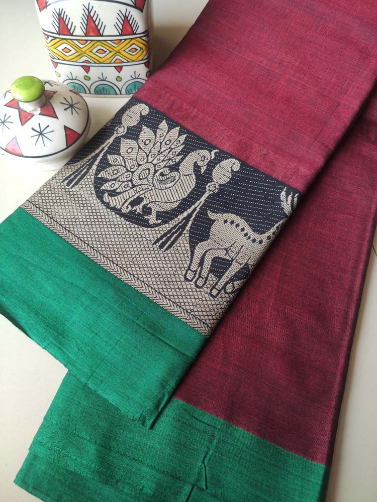 Wine narayanpet south cotton saree with peacock resham border