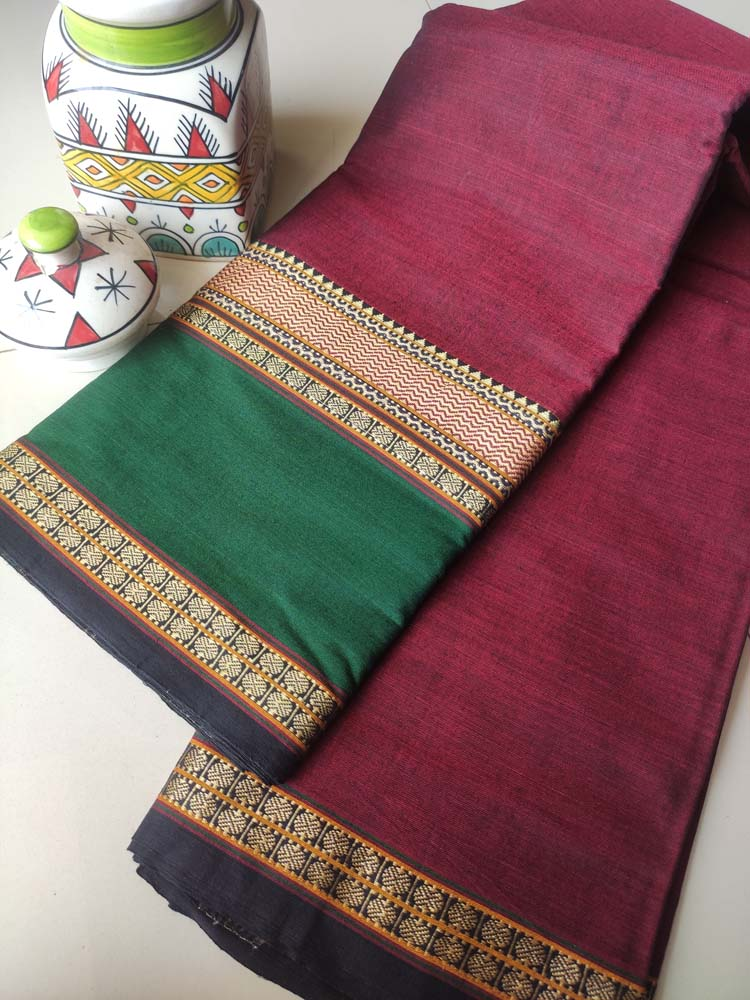 Wine narayanpet south cotton saree with wide resham border