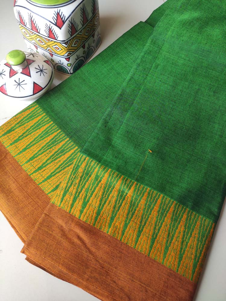 Green narayanpet south cotton saree with resham wide temple border