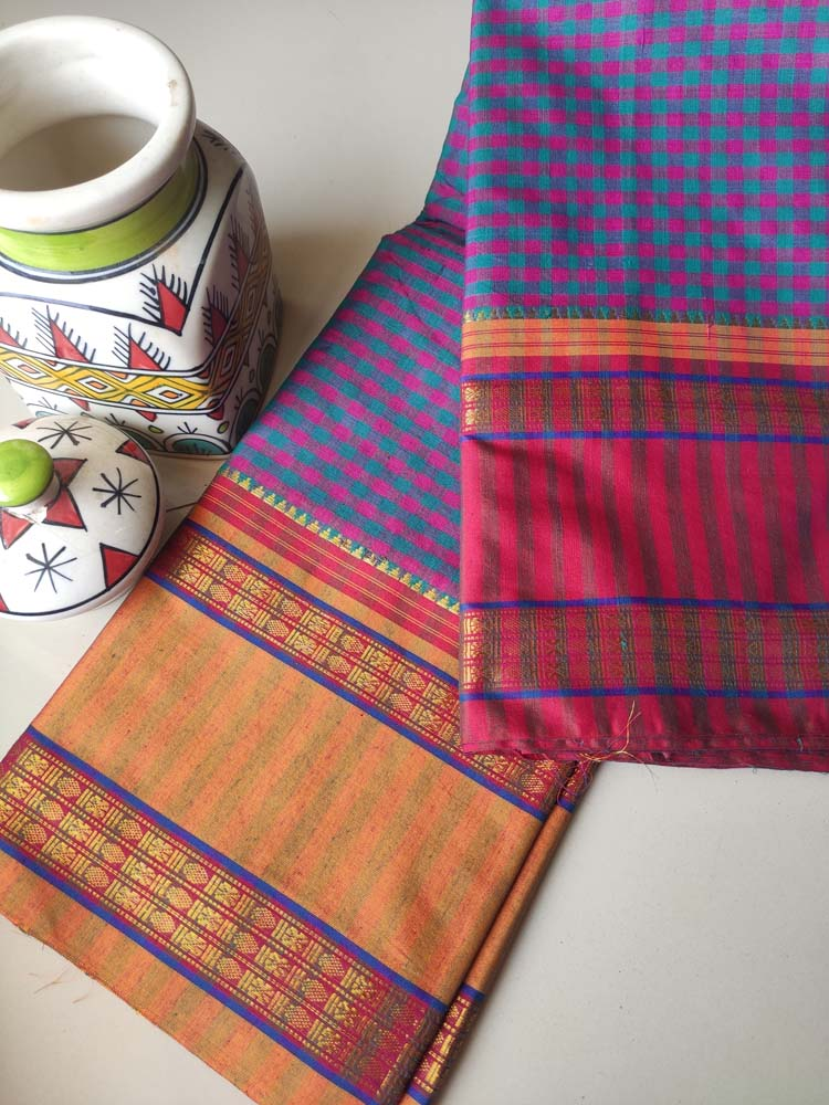 Pink & blue small checks narayanpet south cotton saree with zari border