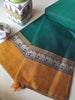 Green narayanpet south cotton saree with resham elephant border