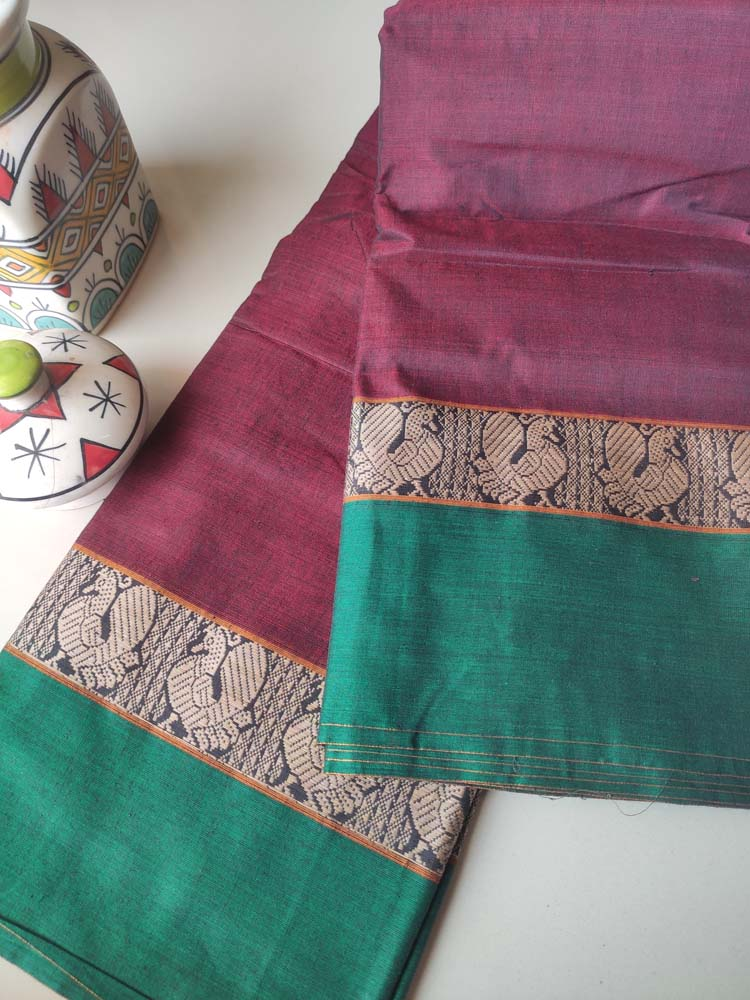 Red narayanpet south cotton saree with resham peacock border