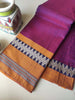 Wine narayanpet south cotton saree with resham zigzag border