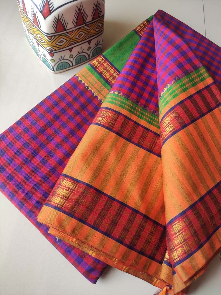 Pinkish red & blue small checks narayanpet south cotton saree with zari border