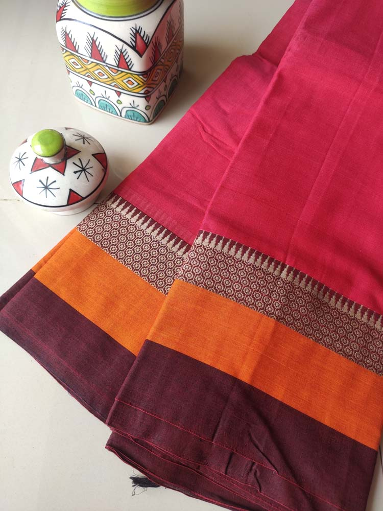 Bright pinkish red narayanpet south cotton saree with resham border