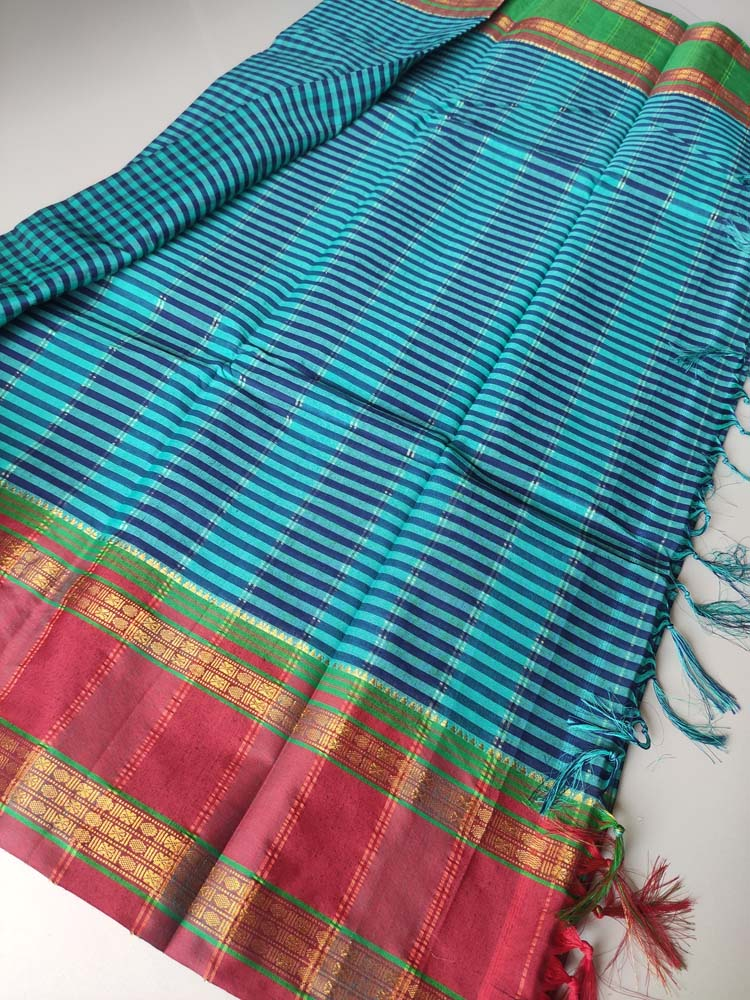 Green & blue small checks narayanpet south cotton saree with zari border