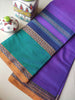 Purple narayanpet south cotton saree with wide resham border