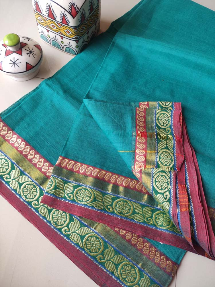 Bluish green narayanpet south cotton saree with resham border