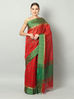 Broad checks of green on red chanderi saree