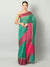 Broad checks & border of pink on green chanderi saree