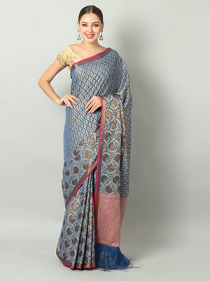 Soft and flowy self Brocade cotton silk with wide border in royal blue