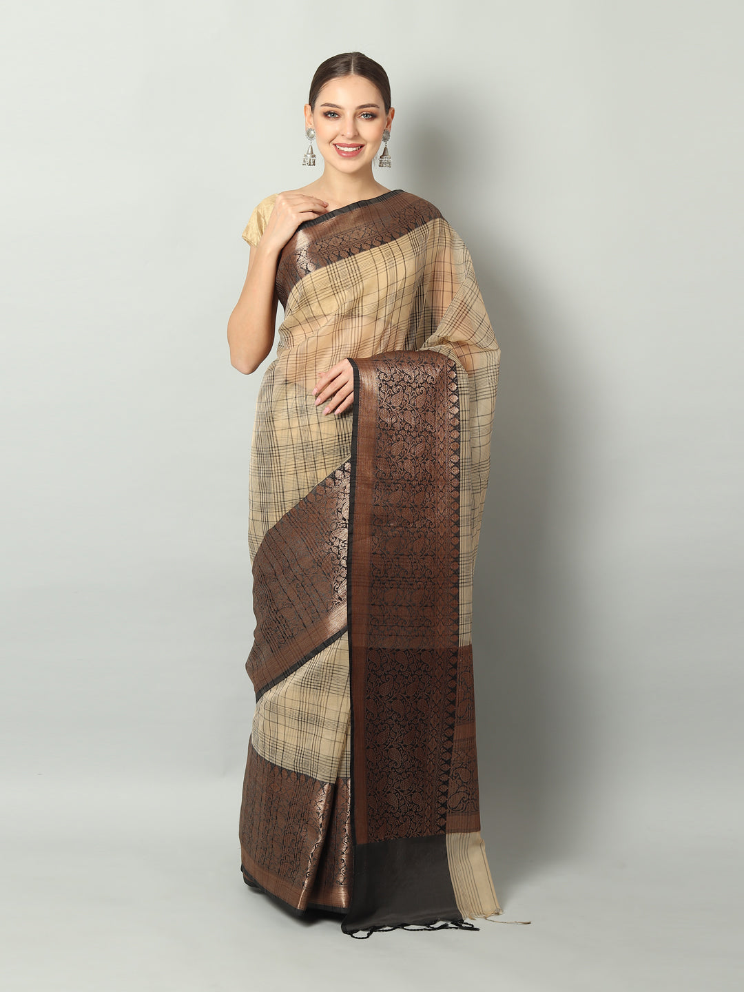 Black checks on beige kora with broad black zari border
