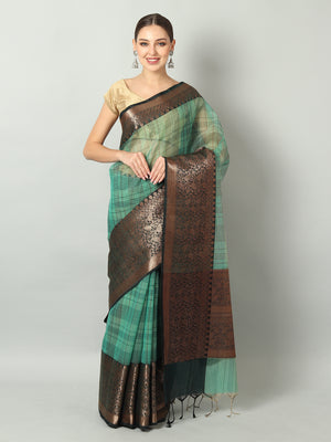 Green kora silk saree with black broad checks all over and black border