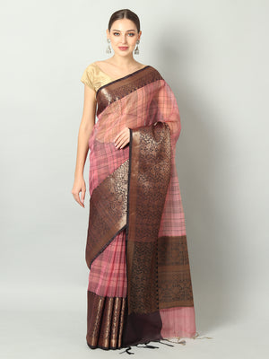 Black checks on onion pink kora with broad black zari border