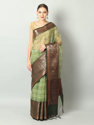 Black checks on green kora with broad black zari border