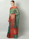Small checks on Bottle green chanderi saree with meenakari red border