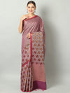 Soft and flowy self Brocade cotton silk with wide border in onion pink