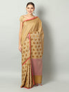 Soft and flowy self Brocade cotton silk with wide border in Beige/light yellow