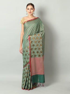 Soft and flowy self Brocade cotton silk with wide border in green