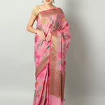 Multicolor floral jaal on pink kota saree and antique zari border & blouse