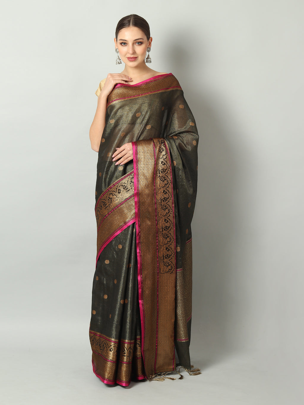 Black shimmer zari linen saree with antique gold zari booties and border