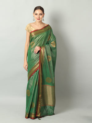 Bright gold & green zari linen saree with motifs all over