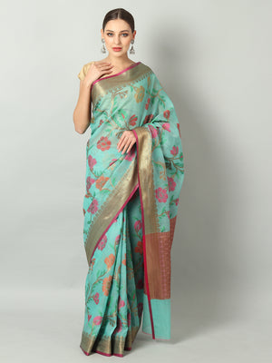 Multicolor floral jaal on gray kota saree and antique zari border & blouse