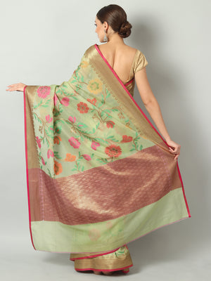 Multicolor floral jaal on pista green kota saree and antique zari border & blouse