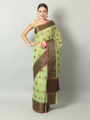 Green zari kota saree with gold zari & black booties and border