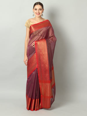 Red kora saree with golden small checks all over and zari weaving border