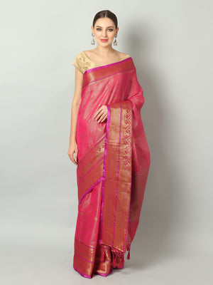 Pinkish red shimmer zari linen saree with antique gold zari booties and border