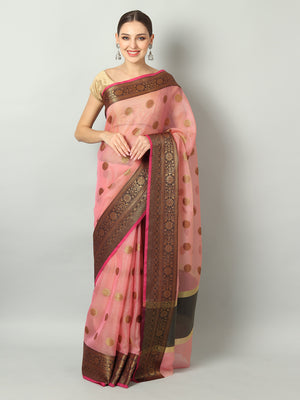 Peach zari kota saree with gold zari & black booties and border