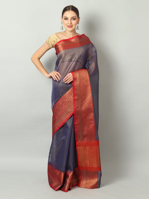 Small checks on navy blue chanderi saree with meenakari red border