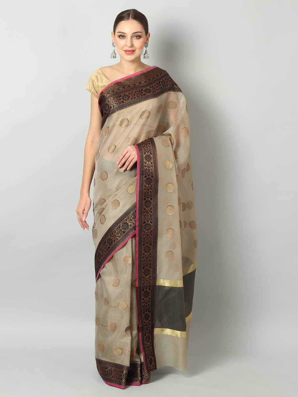 Beige/ Cream zari kota saree with gold zari & black booties and border