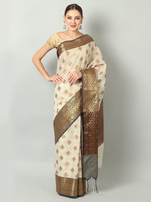 Ivory white kota saree with gold booties and black border