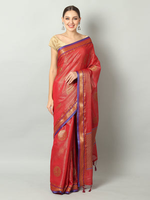 Bright red zari linen saree with motifs all over