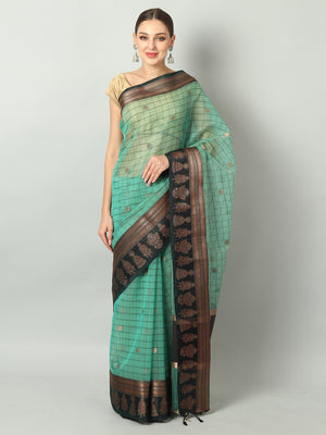 Broad checks on Green kora saree with black border
