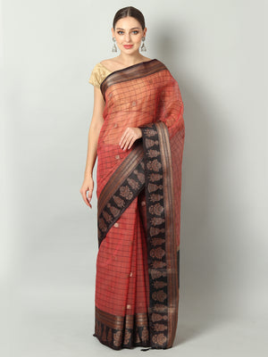 Broad checks on red kora saree with black border