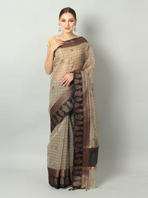 Grey kora saree with black checks all over and golden zari booties