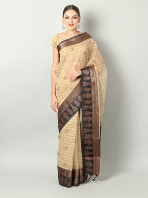 Broad checks on offwhite kora saree with black border