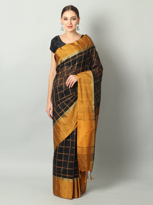 Broad checks of mustard on black chanderi saree