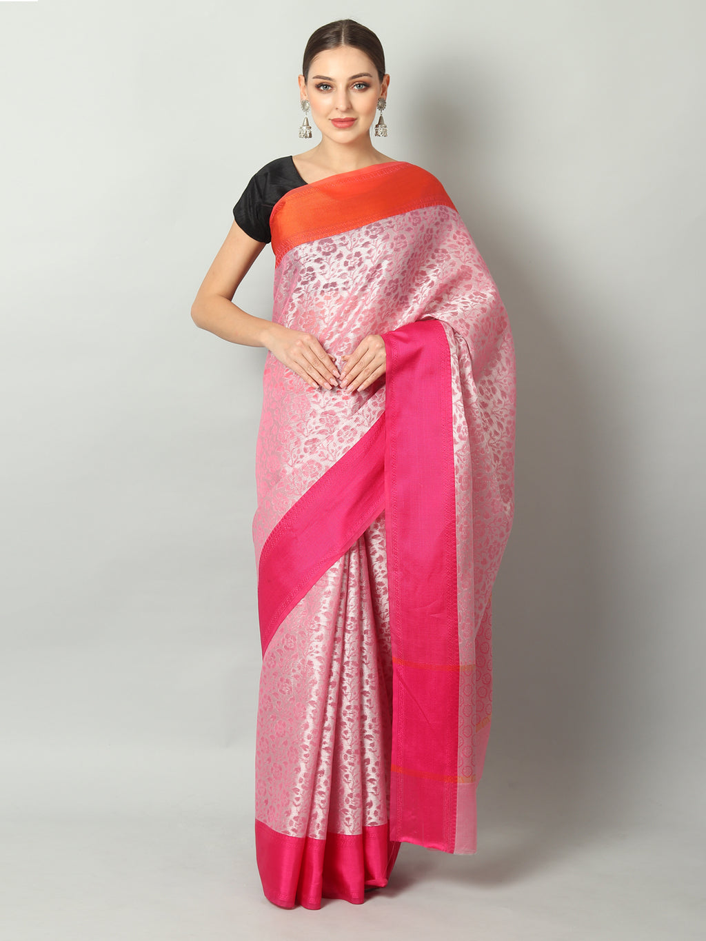 Peach self brocade cotton silk saree with contrasting borders