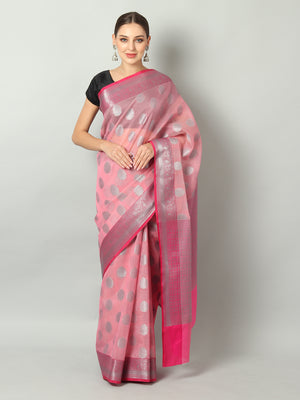 Silver booties and pink border on baby pink kota saree