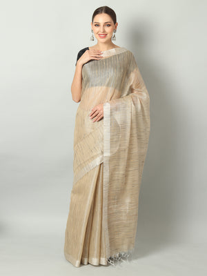 Pastel beige zari linen saree with raw look