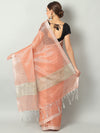 Pastel peach zari linen saree with raw look